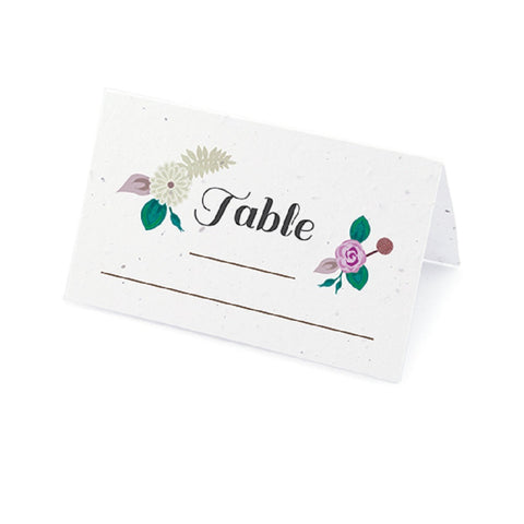 Floral Woodland Plantable Place Cards with Wildflower Seed Blend - Purple - Sophie's Favors and Gifts
