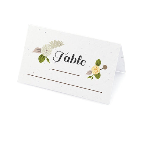 Floral Woodland Plantable Place Cards with Wildflower Seed Blend - Yellow, flower place cards, woodland place cards, yellow place cards, eco friendly place cards, Eco-Friendly Favors