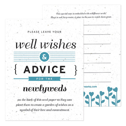 Blue Well Wishes and Advice Favor Card, plantable wedding favor, well wishes cards, blue wedding favors, advice favor cards, Eco-Friendly Favors