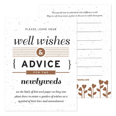 Brown Well Wishes and Advice Favor Card, plantable wedding favor, well wishes cards, brown wedding favors, advice favor cards, Eco-Friendly Favors