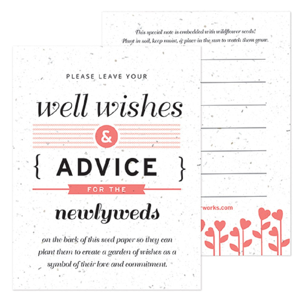 Coral Well Wishes and Advice Favor Card - Sophie's Favors and Gifts
