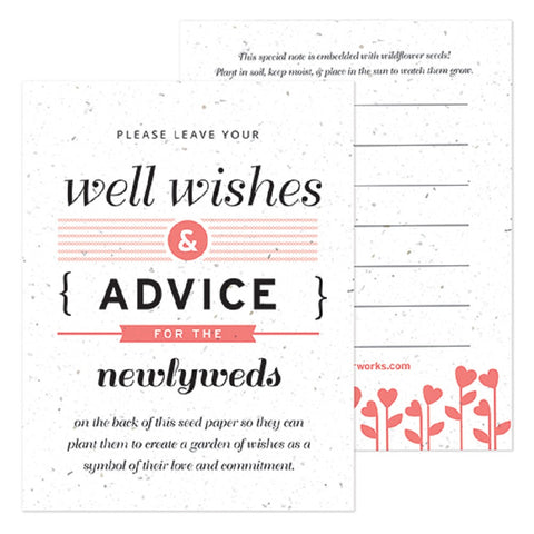 Coral Well Wishes and Advice Favor Card, plantable wedding favor, well wishes cards, orange wedding favors, advice favor cards, Eco-Friendly Favors