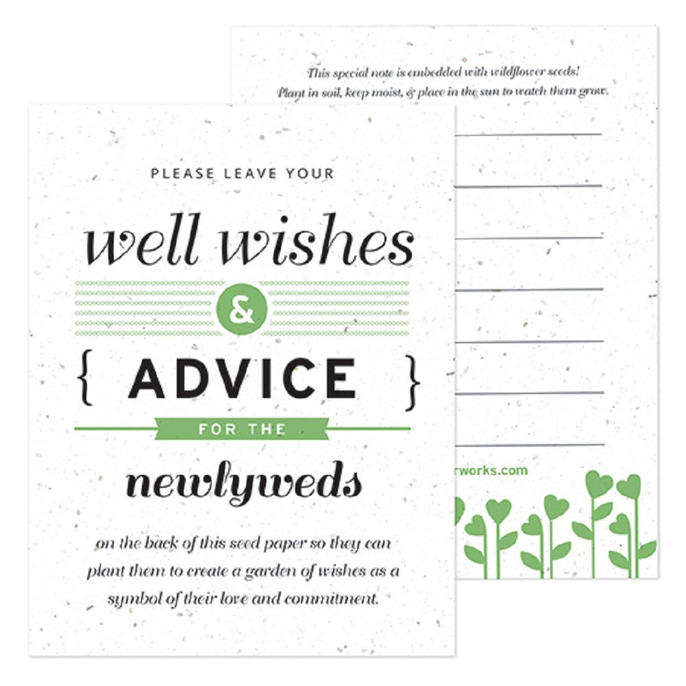 Green Well Wishes and Advice Favor Card, plantable wedding favor, well wishes cards, green wedding favors, advice favor cards, Eco-Friendly Favors