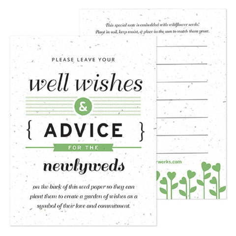 Green Well Wishes and Advice Favor Card - Sophie's Favors and Gifts