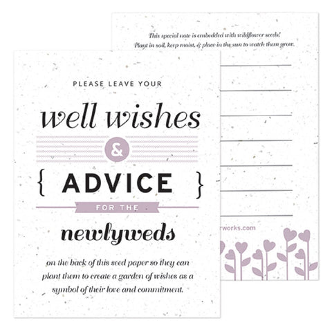 Lilac Well Wishes and Advice Favor Card, plantable wedding favor, well wishes cards, lilac wedding favors, advice favor cards, Eco-Friendly Favors