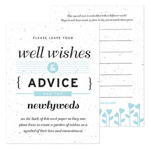 Light Blue Well Wishes and Advice Favor Card, plantable wedding favor, well wishes cards, blue wedding favors, advice favor cards, Eco-Friendly Favors
