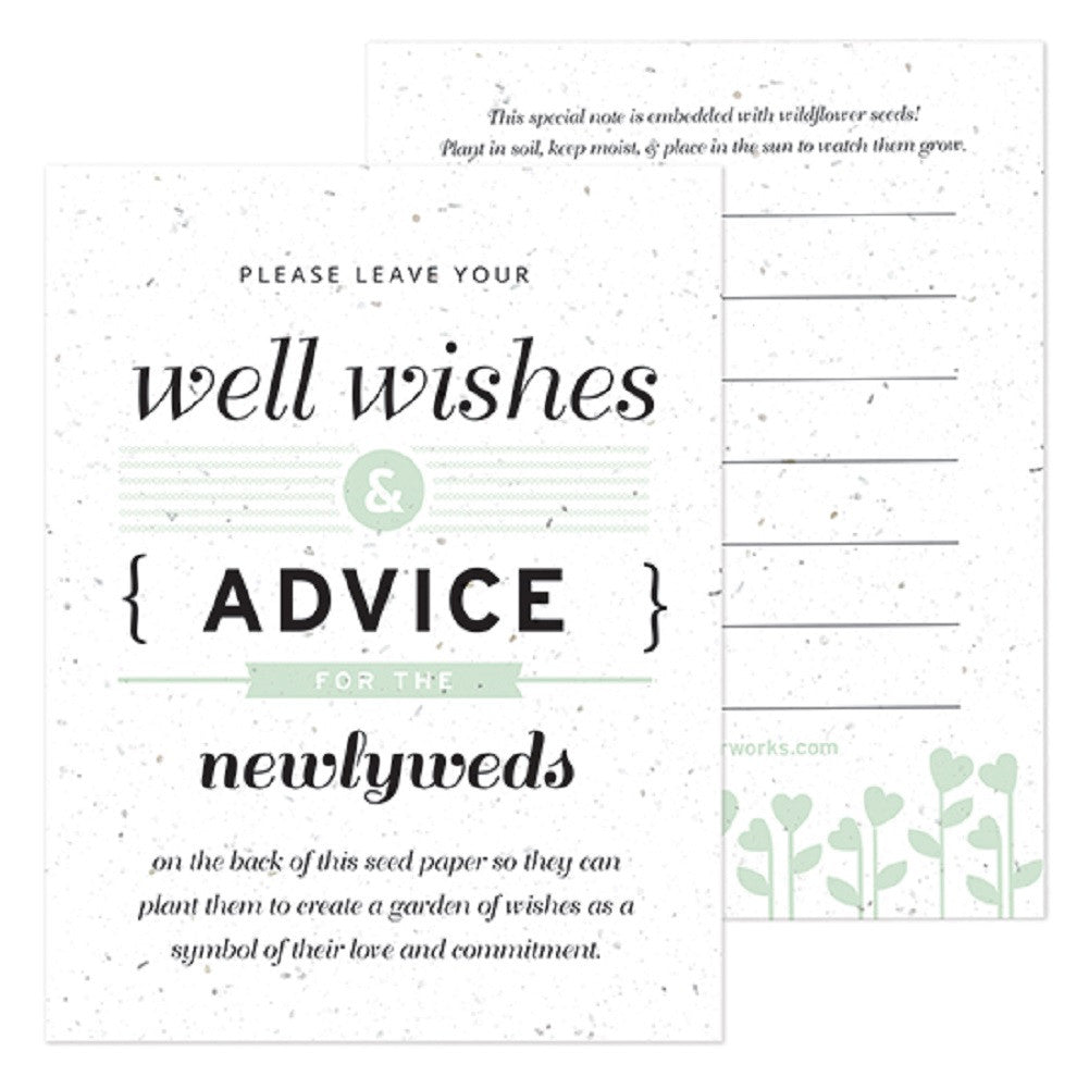 Mint Well Wishes and Advice Favor Card, plantable wedding favor, well wishes cards, green wedding favors, advice favor cards, Eco-Friendly Favors