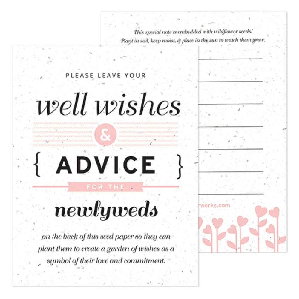 Pink Well Wishes and Advice Favor Card - Sophie's Favors and Gifts