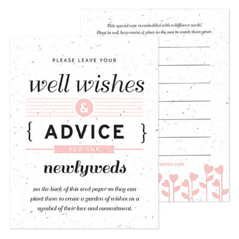 Pink Well Wishes and Advice Favor Card, plantable wedding favor, well wishes cards, pink wedding favors, advice favor cards, Eco-Friendly Favors