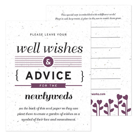 Purple Well Wishes and Advice Favor Card, plantable wedding favor, well wishes cards, purple wedding favors, advice favor cards, Eco-Friendly Favors