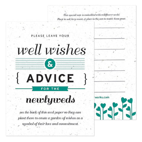 Teal Well Wishes and Advice Favor Card, plantable wedding favor, well wishes cards, teal wedding favors, advice favor cards, Eco-Friendly Favors