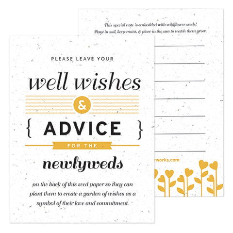 Yellow Well Wishes and Advice Favor Card, plantable wedding favor, well wishes cards, yellow wedding favors, advice favor cards, Eco-Friendly Favors