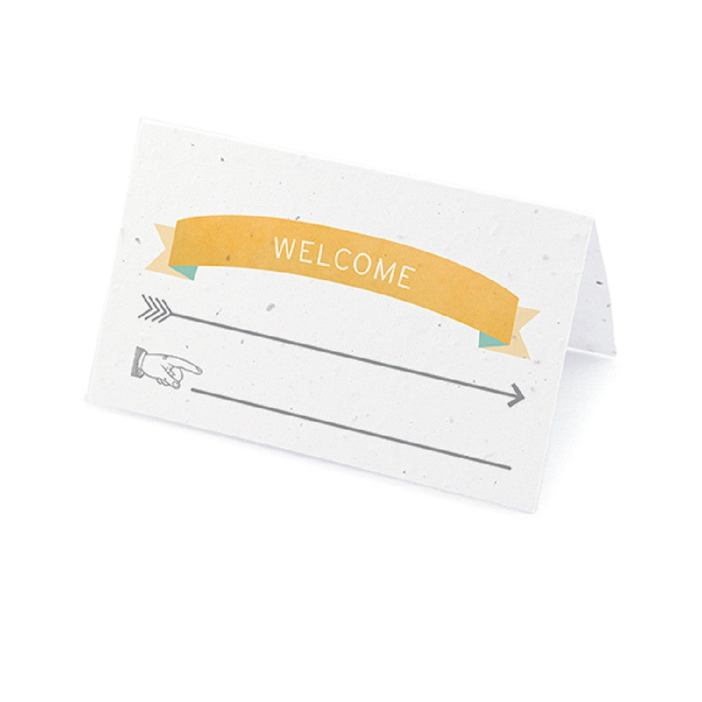 Love Story Plantable Place Card with Wildflower Seed Blend - Yellow and Aqua - Sophie's Favors and Gifts