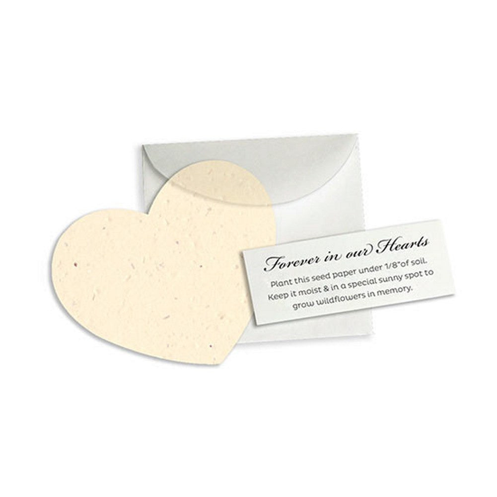 Memorial Plantable Heart Note Favor - Cream - 50 Pack - Sophie's Favors and Gifts