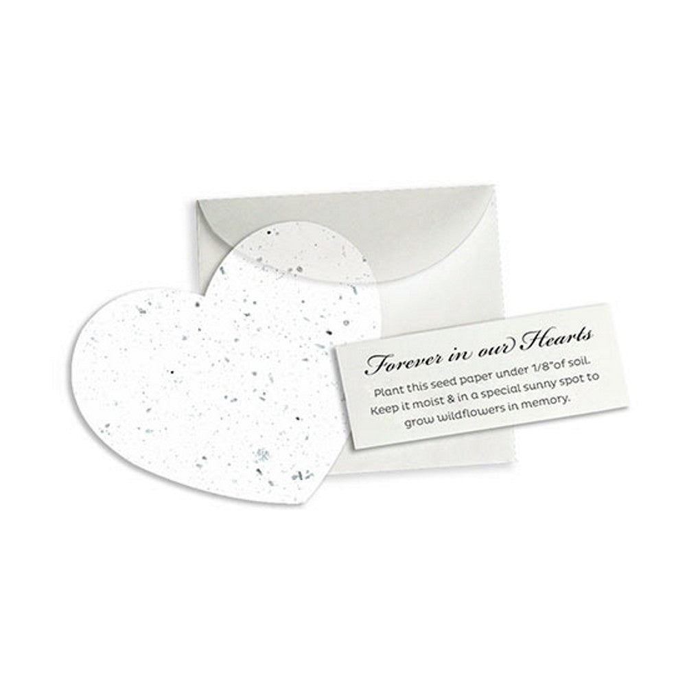 Memorial Plantable Heart Note Favor - White - 50 Pack - Sophie's Favors and Gifts