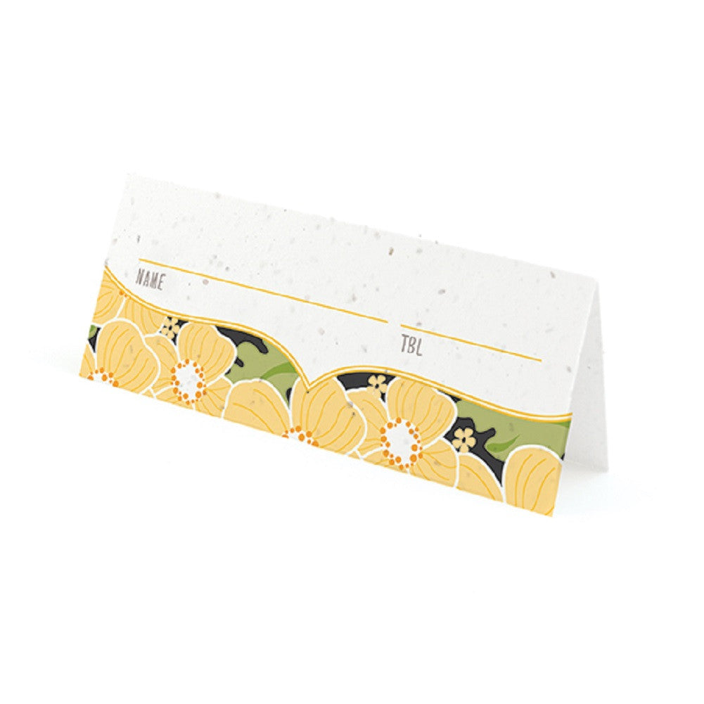 Ornate Floral Plantable Place Cards with Wildflower Seed Blend - Yellow - Sophie's Favors and Gifts