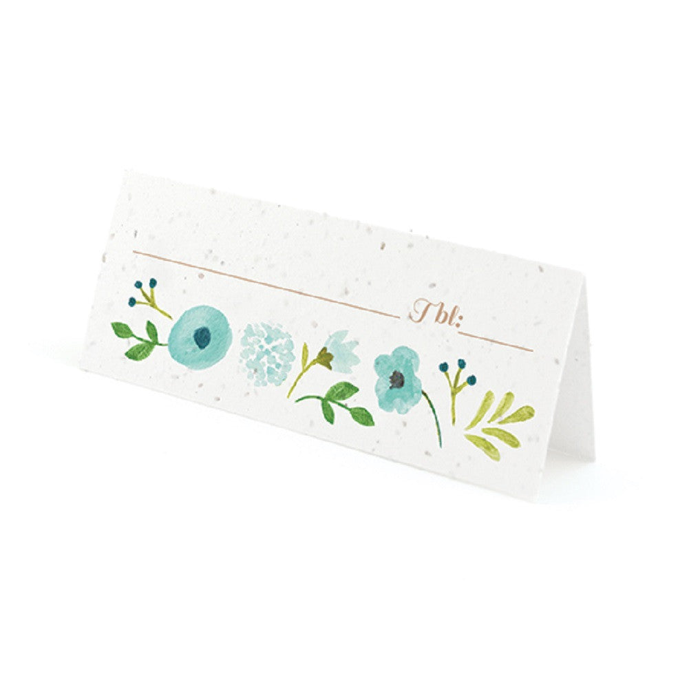 Painterly Floral Plantable Place Cards with Wildflower Seed Blend - Blue, flower place cards, floral place cards, blue place cards, eco friendly place cards, Eco-Friendly Favors