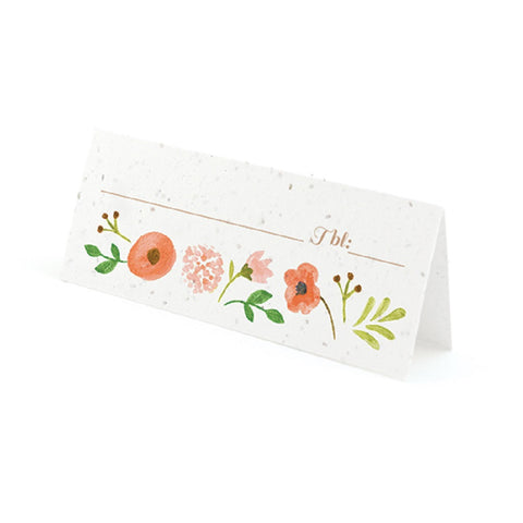 Painterly Floral Plantable Place Cards with Wildflower Seed Blend - Peach, flower place cards, floral place cards, peach place cards, eco friendly place cards, Eco-Friendly Favors