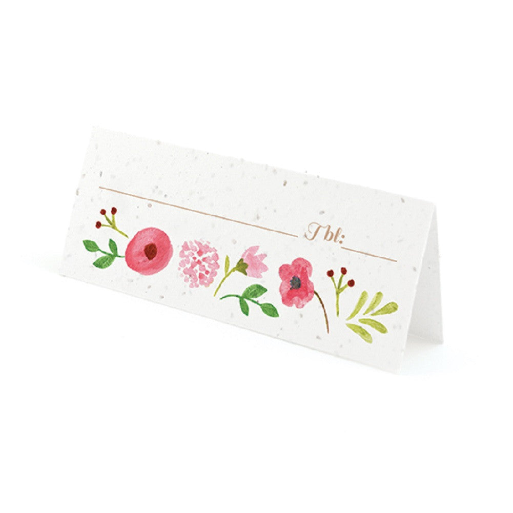 Painterly Floral Plantable Place Cards with Wildflower Seed Blend - Pink, flower place cards, floral place cards, pink place cards, eco friendly place cards, Eco-Friendly Favors