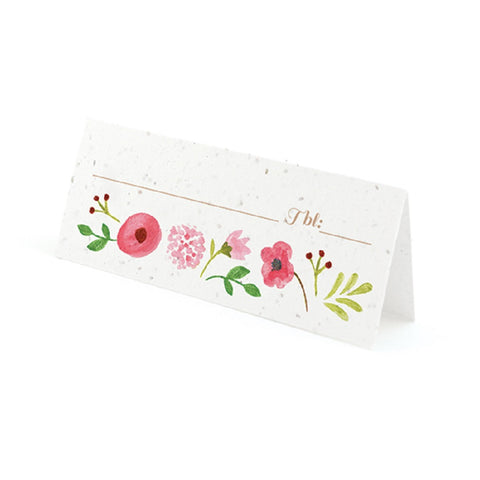 Painterly Floral Plantable Place Cards with Wildflower Seed Blend - Pink - Sophie's Favors and Gifts