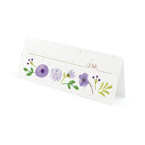 Painterly Floral Plantable Place Cards with Wildflower Seed Blend - Purple - Sophie's Favors and Gifts
