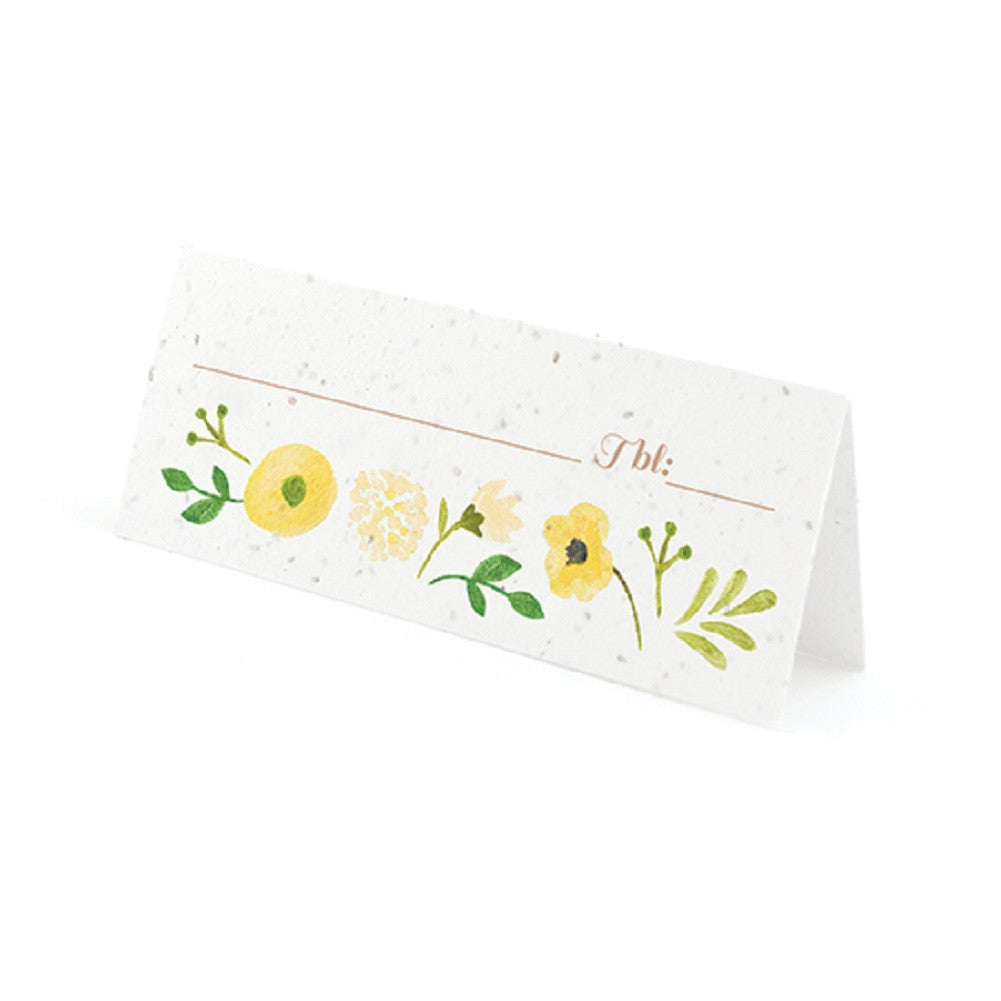 Painterly Floral Plantable Place Cards with Wildflower Seed Blend - Yellow - Sophie's Favors and Gifts