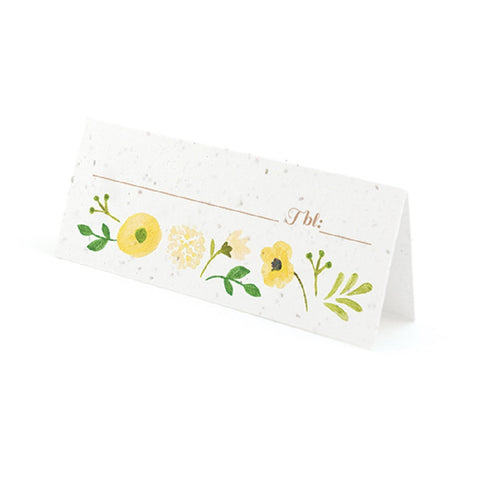 Painterly Floral Plantable Place Cards with Wildflower Seed Blend - Yellow, flower place cards, floral place cards, yellow place cards, eco friendly place cards, Eco-Friendly Favors