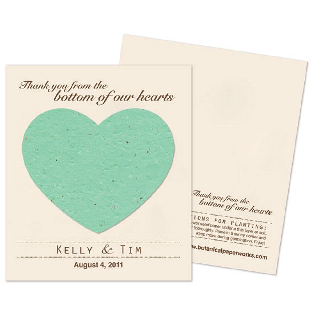 Personalized Aqua Plantable Heart Favors, personalized seed favors, personalized plantable favors, aqua blue wedding favor ideas, heart wedding favors, Eco-Friendly Favors