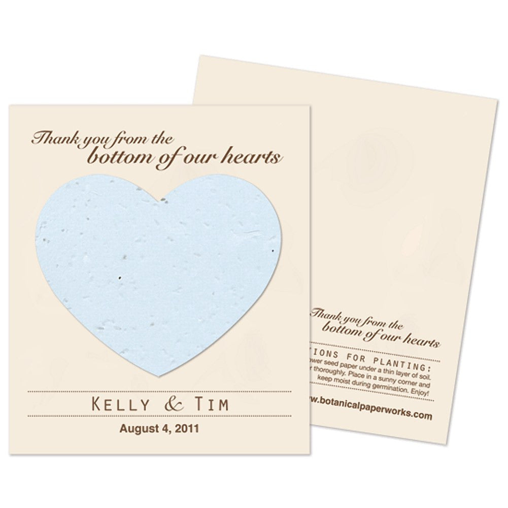 Personalized Blue Plantable Heart Favors, personalized seed favors, personalized plantable favors, blue weddings, heart wedding favors, Eco-Friendly Favors
