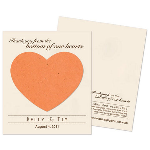 Personalized Burnt Orange Plantable Heart Favors - Sophie's Favors and Gifts