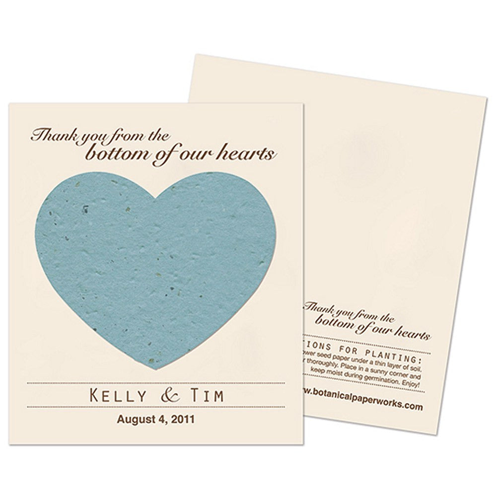 Personalized Cornflower Blue Plantable Heart Favors - Sophie's Favors and Gifts