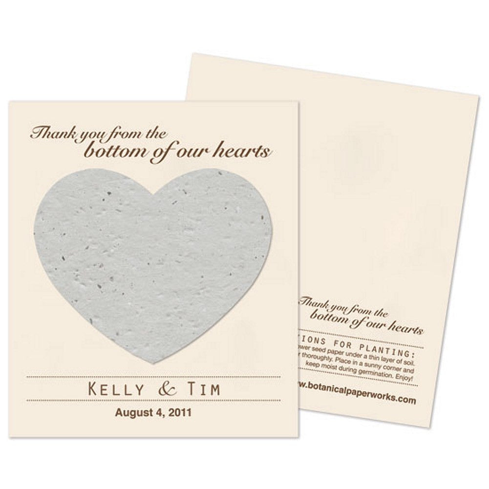 Personalized Dove Grey Plantable Heart Favors, personalized seed favors, personalized plantable favors, gray weddings, heart wedding favors, Eco-Friendly Favors
