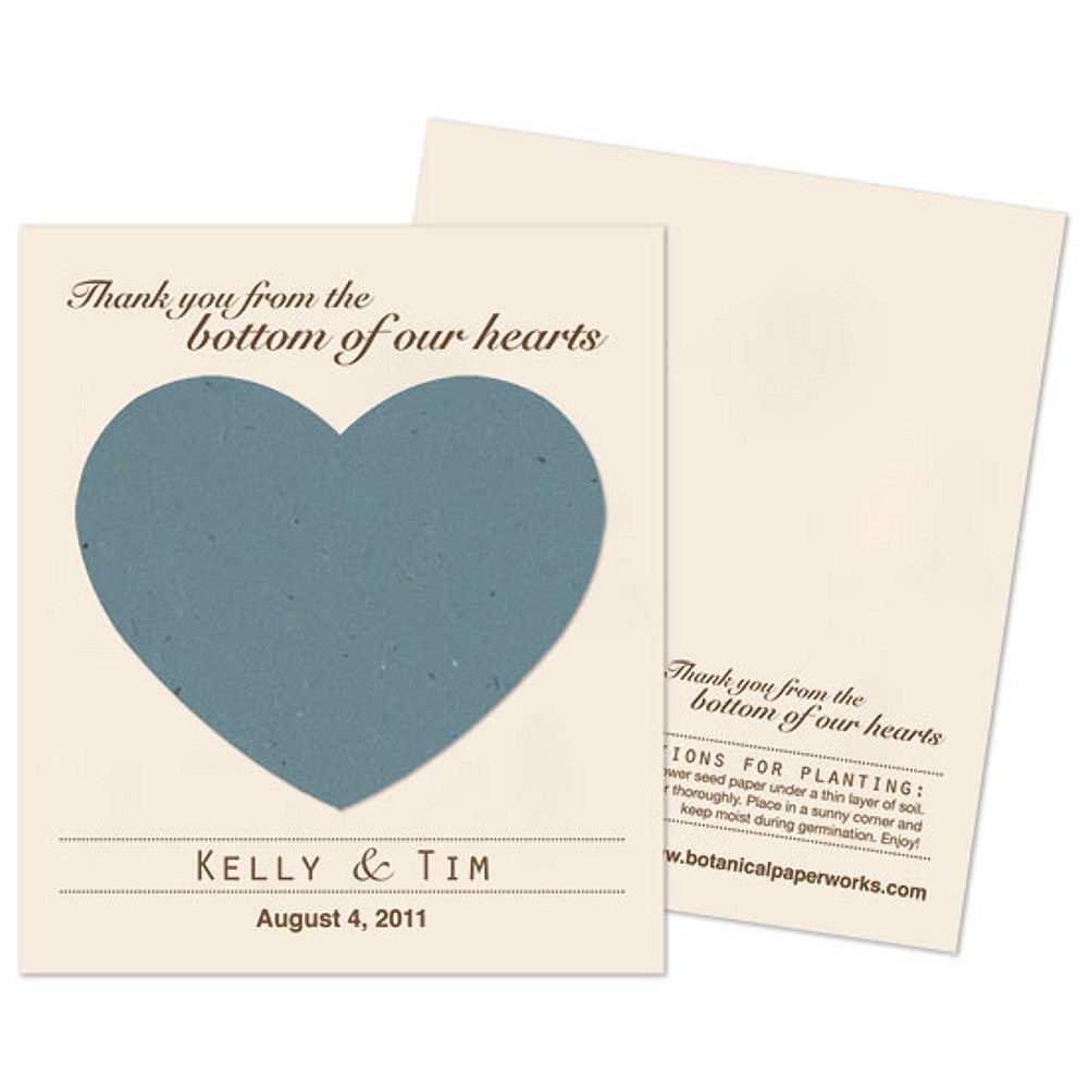 Personalized French Blue Plantable Heart Favors, personalized seed favors, personalized plantable favors, blue weddings, heart wedding favors, Eco-Friendly Favors