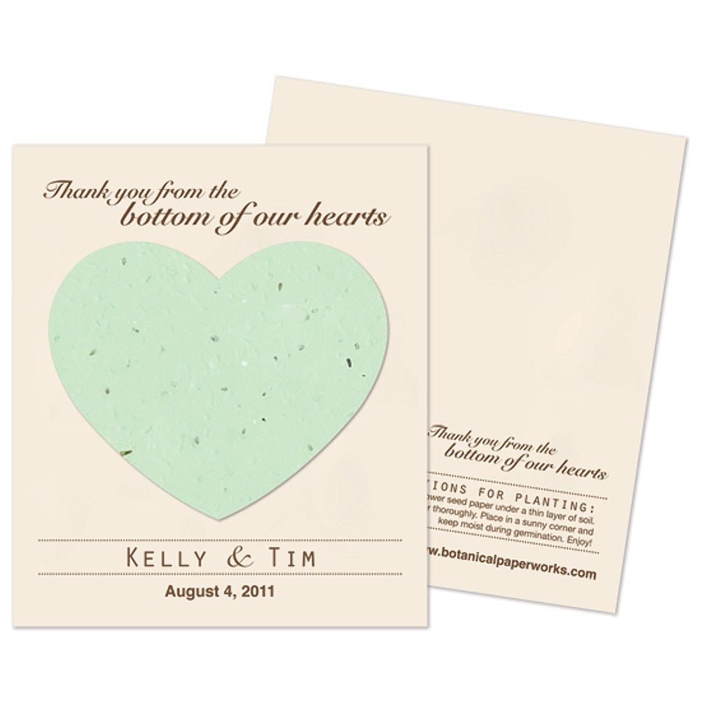 Personalized Green Plantable Heart Favors, personalized seed favors, personalized plantable favors, green wedding favor ideas, heart wedding favors, Eco-Friendly Favors