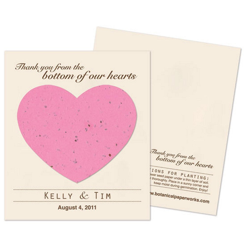Personalized Hot Pink Plantable Heart Favors, personalized seed favors, personalized plantable favors, pink wedding ideas, heart wedding favors, Eco-Friendly Favors