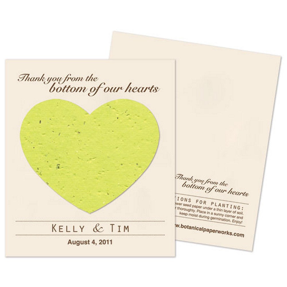 Personalized Lime Green Plantable Heart Favors, personalized seed favors, personalized plantable favors, green weddings, heart wedding favors, Eco-Friendly Favors