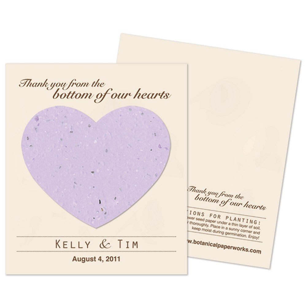 Personalized Lavender Plantable Heart Favors