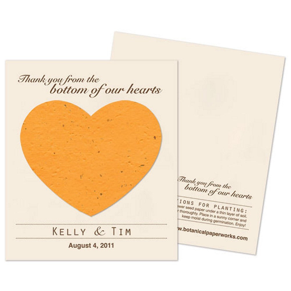 Personalized Mustard Yellow Plantable Heart Favors, personalized seed favors, personalized plantable favors, fall wedding favor ideas, heart wedding favors, Eco-Friendly Favors