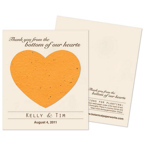 Personalized Mustard Yellow Plantable Heart Favors - Sophie's Favors and Gifts