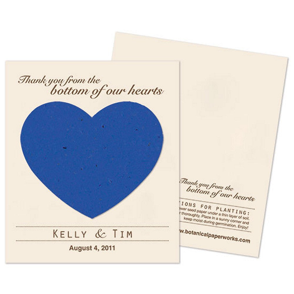 Personalized Royal Blue Plantable Heart Favors , personalized seed favors, personalized plantable favors, blue weddings, heart wedding favors, Eco-Friendly Favors