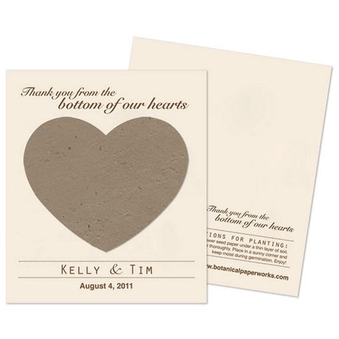 Personalized Stone Grey Plantable Heart Favors , personalized seed favors, personalized plantable favors, gray weddings, heart wedding favors, Eco-Friendly Favors