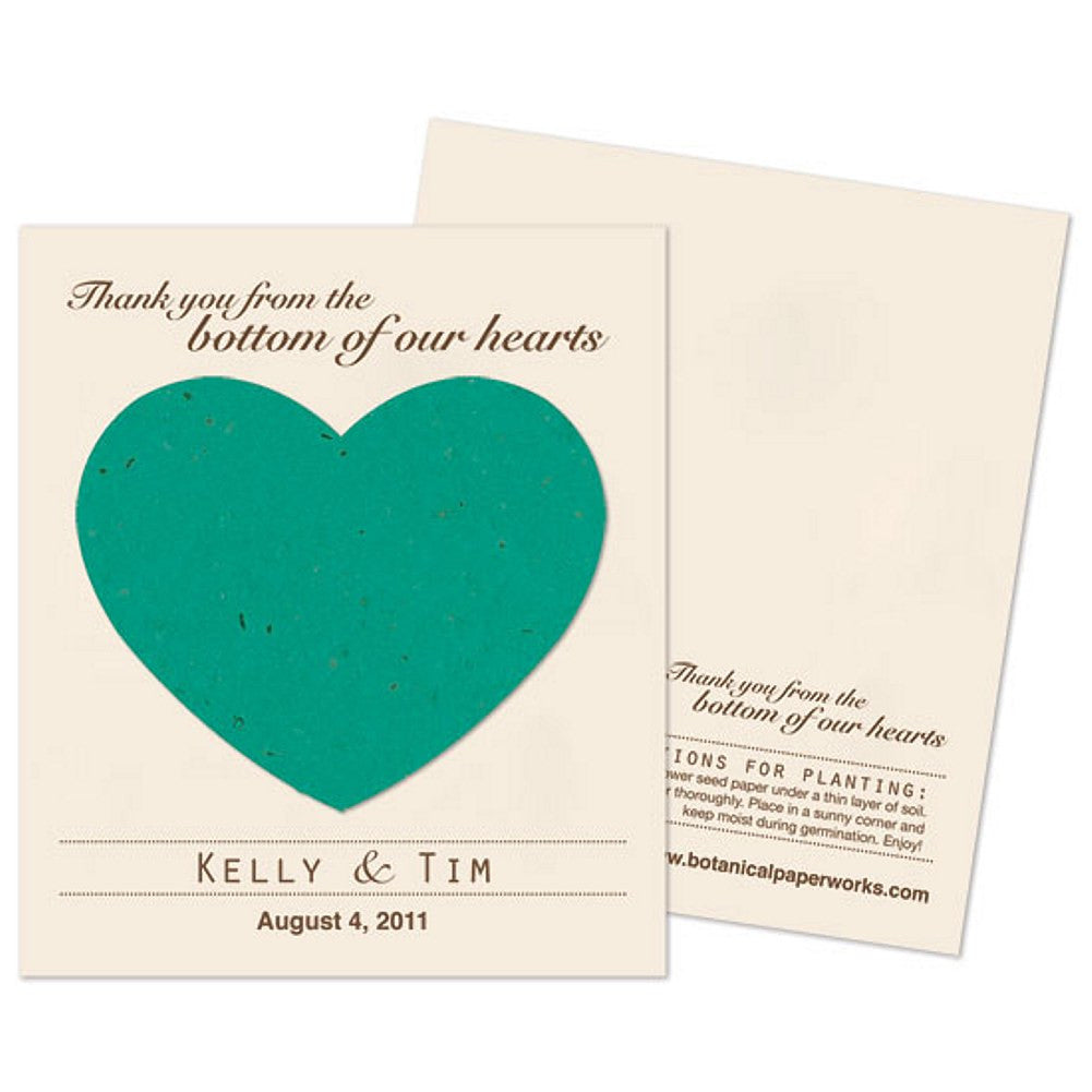 Personalized Teal Plantable Heart Favors, personalized seed favors, personalized plantable favors, teal weddings, heart wedding favors, Eco-Friendly Favors