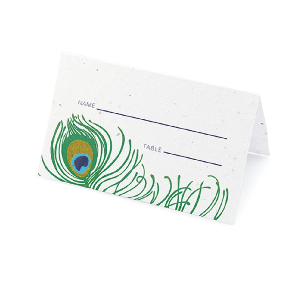 Peacock Plantable Place Card with Wildflower Seed Blend - Sophie's Favors and Gifts
