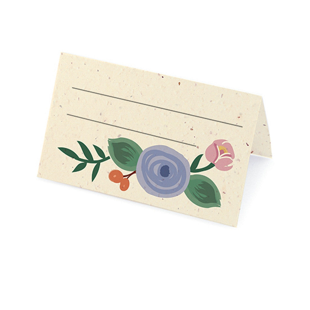 Romantic Floral Plantable Place Card - Coral, Periwinkle and Blush, floral place cards, plantable place cards, eco friendly placecards, flower place cards, Eco-Friendly Favors