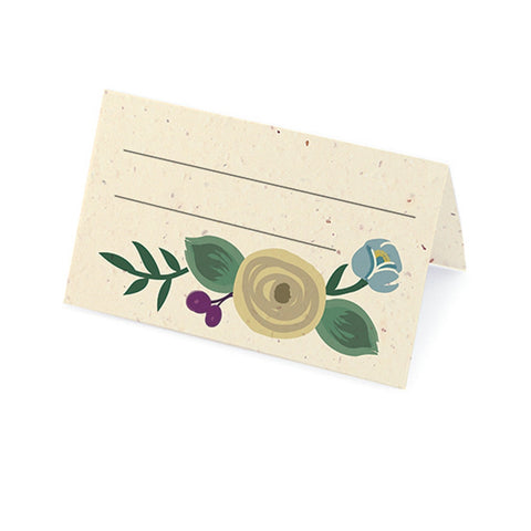 Romantic Floral Plantable Place Card - Latte, Lavender and Blue, floral place cards, plantable place cards, eco friendly placecards, flower place cards, Eco-Friendly Favors