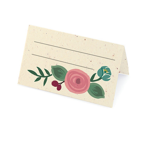 Romantic Floral Plantable Place Card - Pink, Burgundy and Teal, floral place cards, plantable place cards, eco friendly placecards, flower place cards, Eco-Friendly Favors