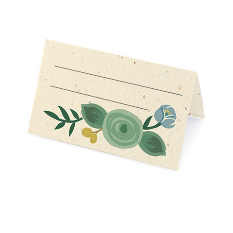 Romantic Floral Plantable Place Card - Yellow, Jade and Blue, floral place cards, plantable place cards, eco friendly placecards, flower place cards, Eco-Friendly Favors