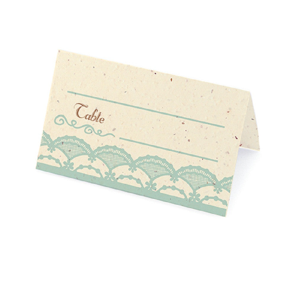 Rustic Lace Plantable Place Cards with Wildflower Seed Blend - Blue, lace place cards, lacey place cards, country western place cards, vintage place cards, Eco-Friendly Favors
