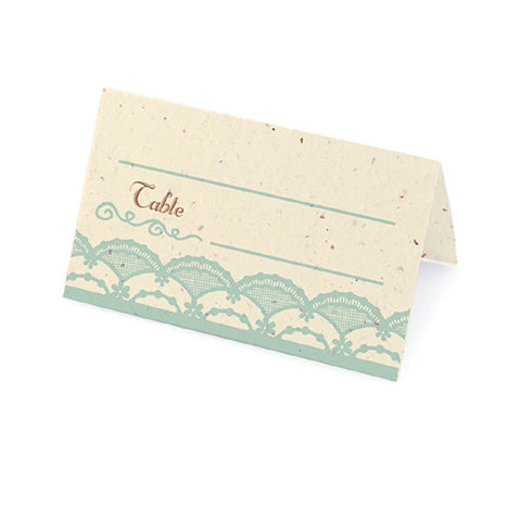 Rustic Lace Plantable Place Cards with Wildflower Seed Blend - Blue - Sophie's Favors and Gifts