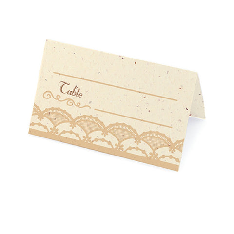 Rustic Lace Plantable Place Cards with Wildflower Seed Blend - Latte - Sophie's Favors and Gifts
